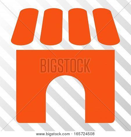 Orange Shop toolbar pictogram. Vector pictograph style is a flat symbol on diagonal hatch transparent background.