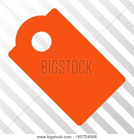 Orange Tag interface toolbar pictogram. Vector pictogram style is a flat symbol on diagonal hatch transparent background.