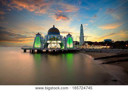 Malacca straits mosque at sunset, Malacca Malaysia