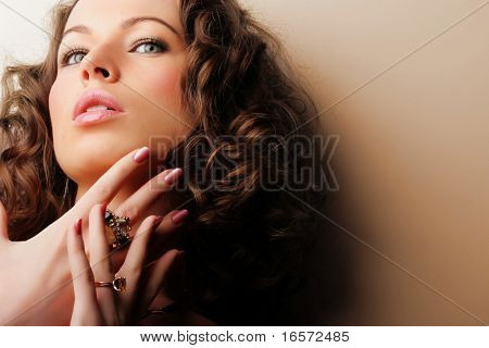 Beautiful woman. Fashion art photo.  Jewelry and Beauty poster
