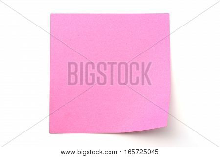 Pink paper stick note on a white background
