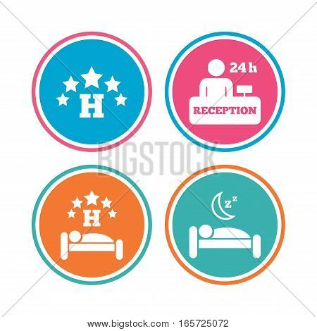 Five stars hotel icons. Travel rest place symbols. Human sleep in bed sign. Hotel 24 hours registration or reception. Colored circle buttons. Vector