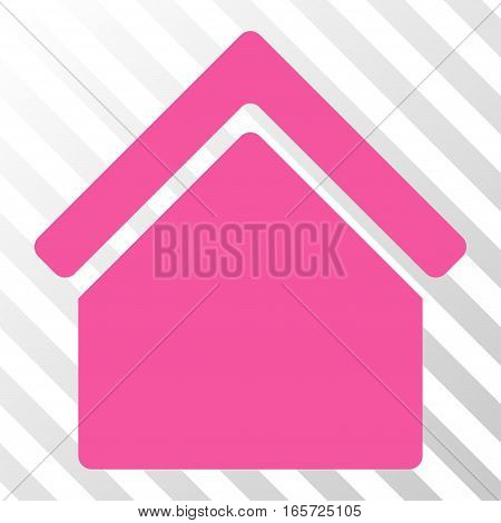 Pink Home toolbar pictogram. Vector pictogram style is a flat symbol on diagonally hatched transparent background.