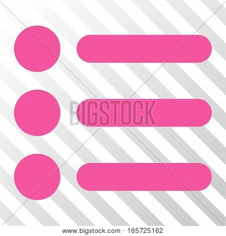 Pink Items interface toolbar icon. Vector pictograph style is a flat symbol on diagonal hatch transparent background.