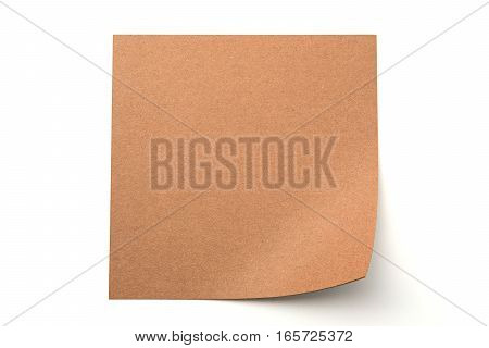 Brown paper stick note on a white background