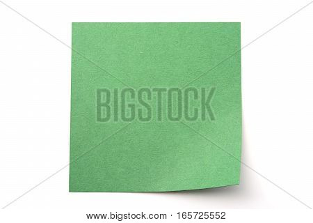 Dark green paper stick note on a white background
