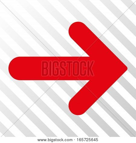 Red Arrow Right toolbar icon. Vector pictograph style is a flat symbol on diagonal hatch transparent background.