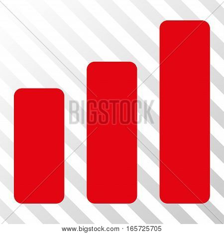 Red Bar Chart Increase interface pictogram. Vector pictogram style is a flat symbol on diagonal hatch transparent background.