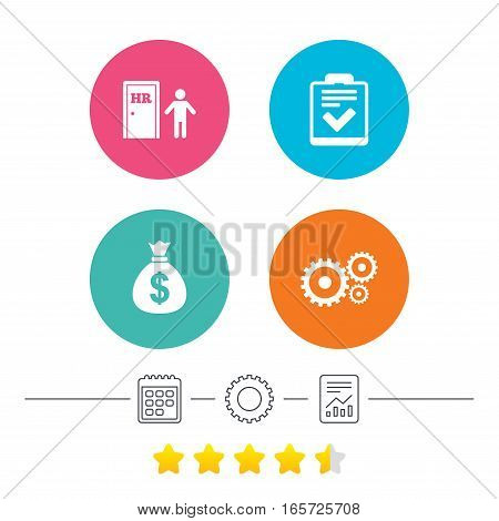 Human resources icons. Checklist document sign. Money bag and gear symbols. Man at the door. Calendar, cogwheel and report linear icons. Star vote ranking. Vector