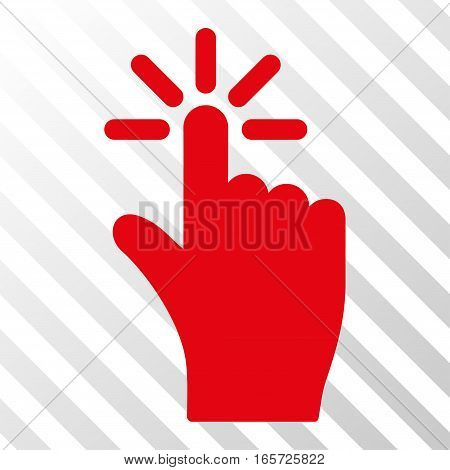 Red Click toolbar pictogram. Vector pictogram style is a flat symbol on diagonal hatch transparent background.