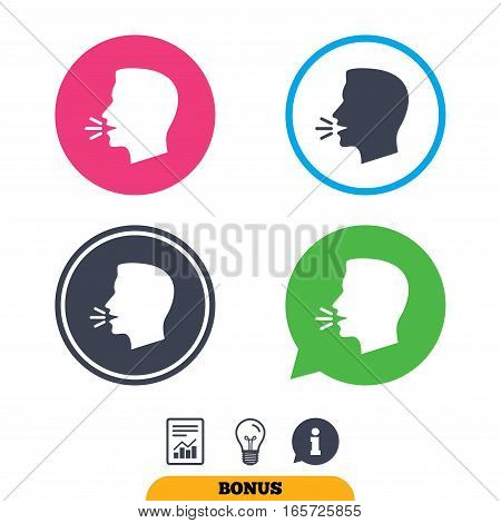 Talk or speak icon. Loud noise symbol. Human talking sign. Report document, information sign and light bulb icons. Vector