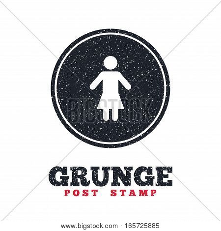 Grunge post stamp. Circle banner or label. Female sign icon. Woman human symbol. Women toilet. Dirty textured web button. Vector