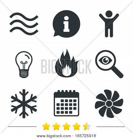 HVAC icons. Heating, ventilating and air conditioning symbols. Water supply. Climate control technology signs. Information, light bulb and calendar icons. Investigate magnifier. Vector