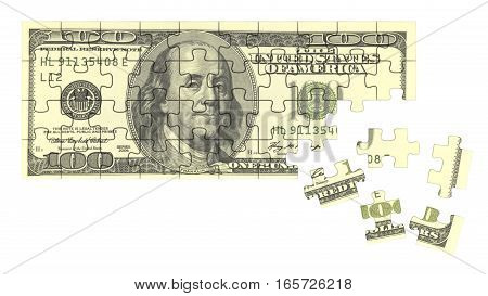 Dollar banknone as jigsaw puzzle. 3D rendered illustration.