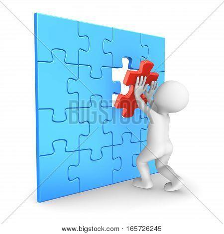 3D Man Assembling Last Puzzle Piece