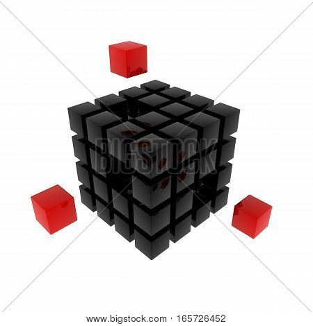 Black cubic puzzle isolated on white background. 3d rendered illustration.