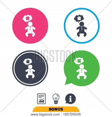 Baby infant think about gift box sign icon. Toddler boy in pajamas or crawlers body symbol. Report document, information sign and light bulb icons. Vector