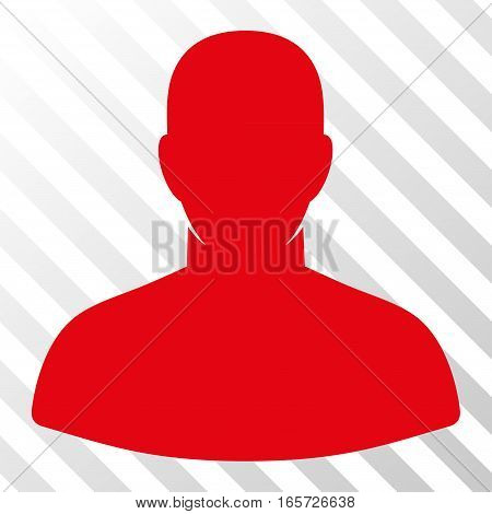 Red User interface toolbar pictogram. Vector pictogram style is a flat symbol on diagonally hatched transparent background.