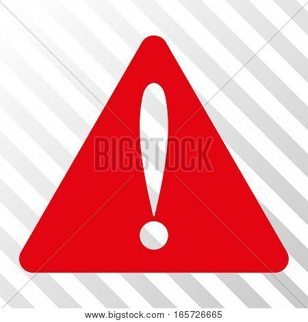 Red Warning Error interface toolbar pictogram. Vector pictograph style is a flat symbol on diagonal hatch transparent background.