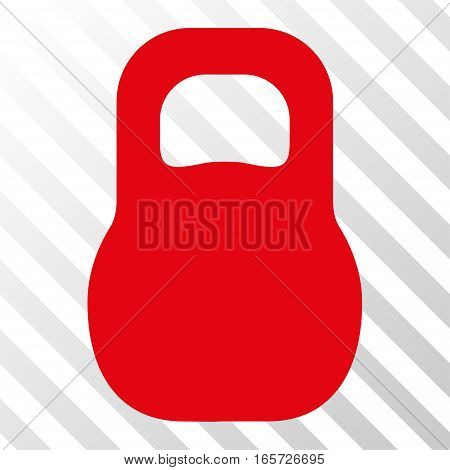 Red Weight Iron toolbar icon. Vector pictogram style is a flat symbol on diagonally hatched transparent background.