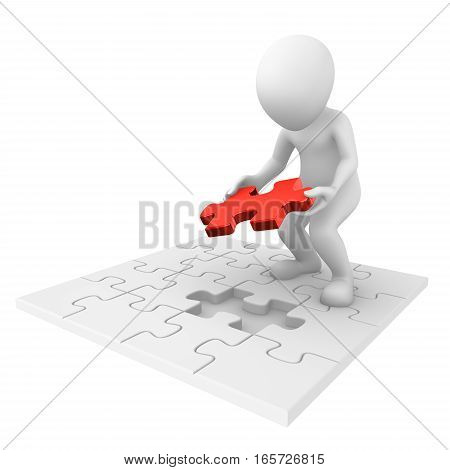 3D Man Finishing Jigsaw Puzzle