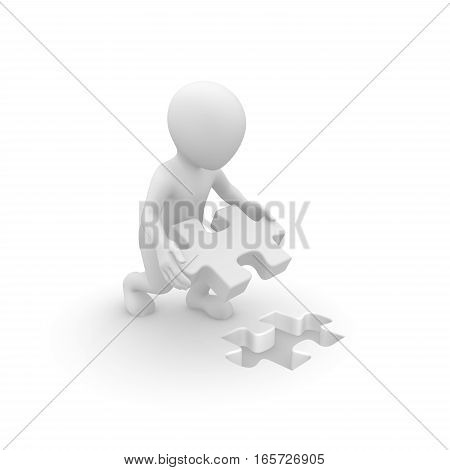 White man working with jigsaw puzzle. 3d rendered illustration.