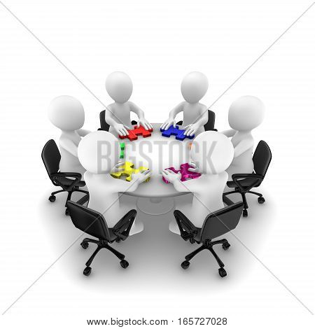 3D People With Jigsaw Puzzle, Teamwork Concept