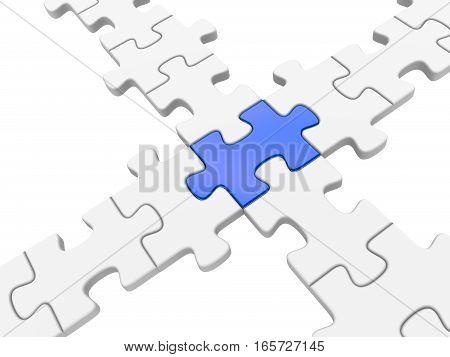 3d puzzle bridge isoladed on white background.