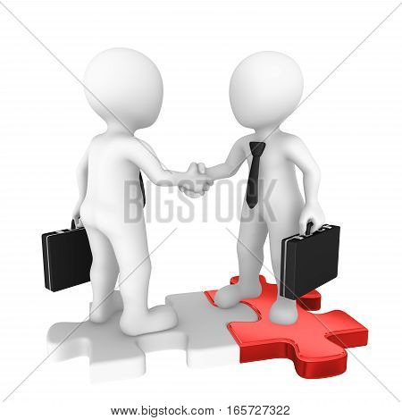 3D Businessmen Shaking Hands On Puzzle