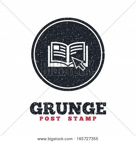 Grunge post stamp. Circle banner or label. Instruction sign icon. Manual book symbol. Read before use. Dirty textured web button. Vector