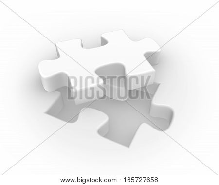 3D White Puzzle, Isolated Background