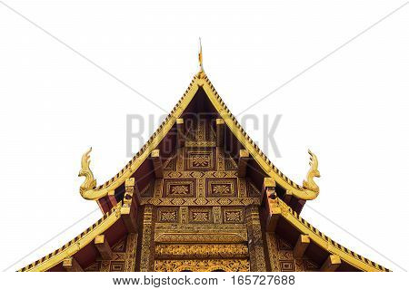 The roof of a Buddhist temple isolated on white background.