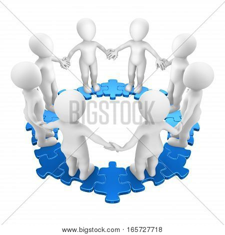 3D People On Circle Puzzle, Hand A Hand