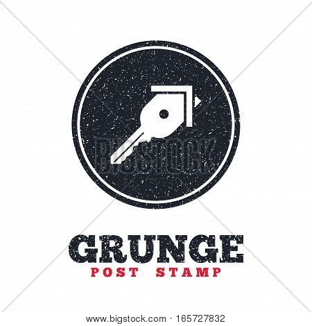 Grunge post stamp. Circle banner or label. Key from the house sign icon. Unlock tool symbol. Dirty textured web button. Vector