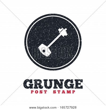 Grunge post stamp. Circle banner or label. Key sign icon. Unlock tool symbol. Dirty textured web button. Vector