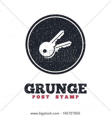 Grunge post stamp. Circle banner or label. Keys sign icon. Unlock tool symbol. Dirty textured web button. Vector