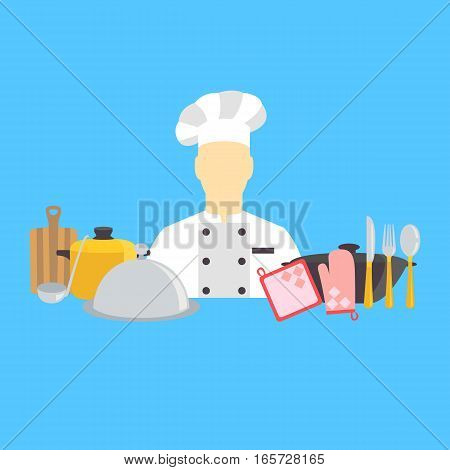 Vector illustration of cook and kitchenware icons line set