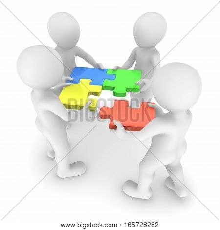 Teamwork and colored puzzle. 3d rendered illustration.