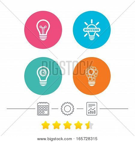 Light lamp icons. Circles lamp bulb symbols. Energy saving with cogwheel gear. Idea and success sign. Calendar, cogwheel and report linear icons. Star vote ranking. Vector