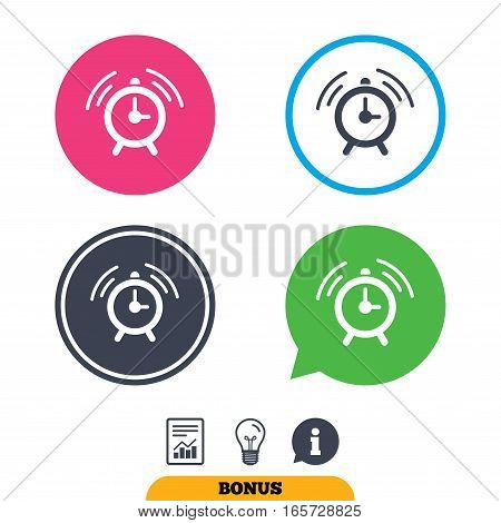 Alarm clock sign icon. Wake up alarm symbol. Report document, information sign and light bulb icons. Vector