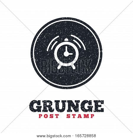 Grunge post stamp. Circle banner or label. Alarm clock sign icon. Wake up alarm symbol. Dirty textured web button. Vector