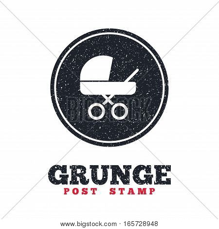 Grunge post stamp. Circle banner or label. Baby pram stroller sign icon. Baby buggy. Baby carriage symbol. Dirty textured web button. Vector