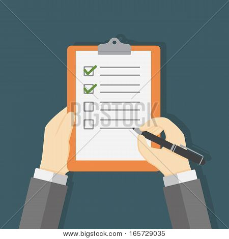 Hand Holding Clipboard and Filling A Checklist Form
