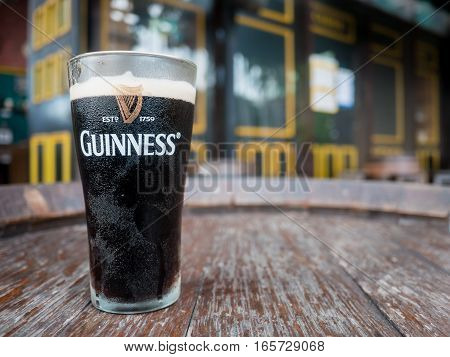 Thailand Pattaya : Pint of beer served at Guinness Brewery on September 18 2016 in Pattaya.