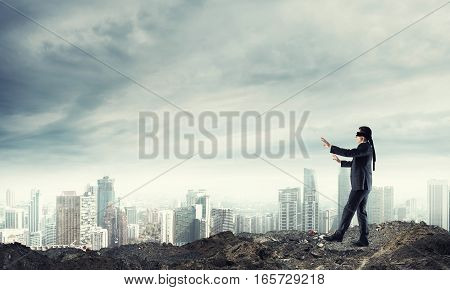 Concept of risk and danger in business with man stepping blind
