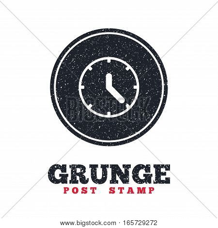 Grunge post stamp. Circle banner or label. Clock sign icon. Mechanical clock symbol. Dirty textured web button. Vector
