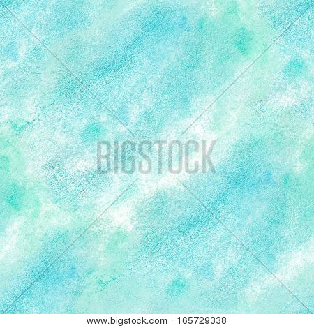 Watercolor turquoise hand-painted seamless pattern background illustration.