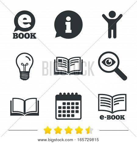 Electronic book icons. E-Book symbols. Speech bubble sign. Information, light bulb and calendar icons. Investigate magnifier. Vector