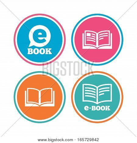 Electronic book icons. E-Book symbols. Speech bubble sign. Colored circle buttons. Vector