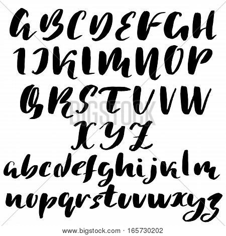 Hand drawn font made by dry brush strokes. Grunge style alphabet. Handwritten font. Vector illustration